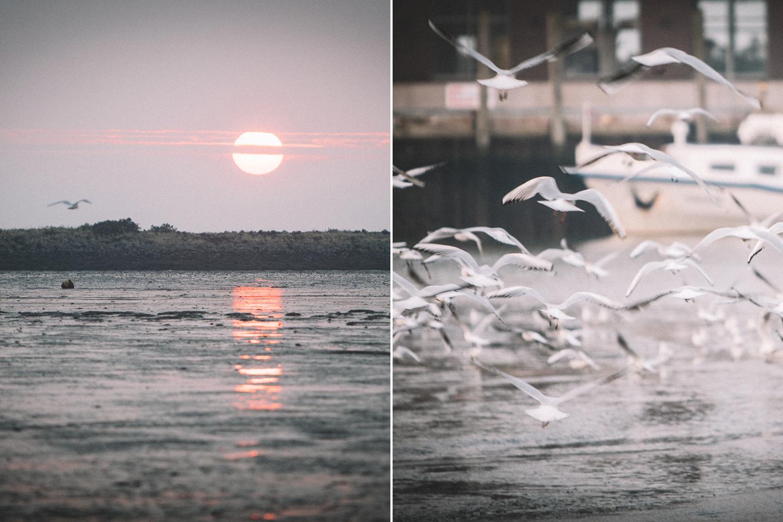 Sonnenaufgang-am-Hafen-der-Insel-Langeoog